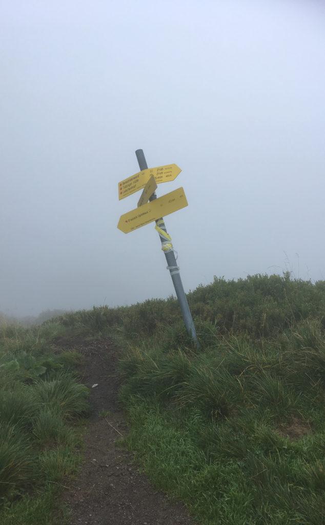 Ein Wegweiser im Nebel.